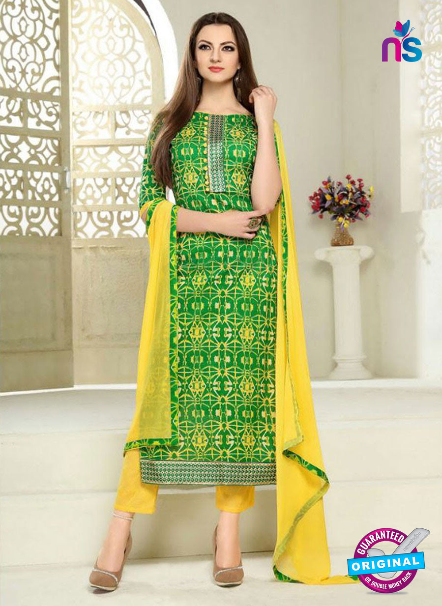 SC 12290 Green and Yellow Elegant Embroidered with Printed Pure Cotton Suit