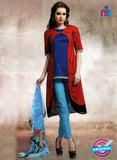 NS10659 A Red and Sky Blue Lawn Cotton Designer Suit