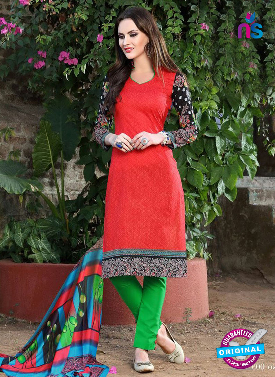 SC 12963 Red, Black and Green Printed Pure Cotton Salwar Suit