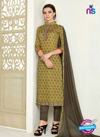 SC 12286 Brown Elegant Embroidered with Printed Pure Cotton Suit