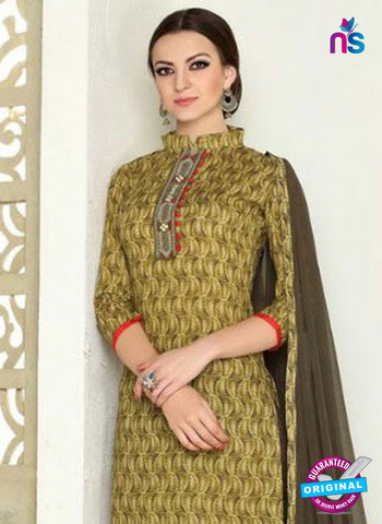 SC 12286 Beige Elegant Embroidered with Printed Pure Cotton Suit