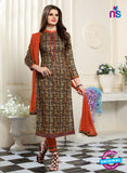 SC 13551 Multicolor and Orange Designer Fancy Traditional Semi-stitched Straight Suit