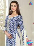 SC 12291 White and Blue Elegant Embroidered with Printed Pure Cotton Suit