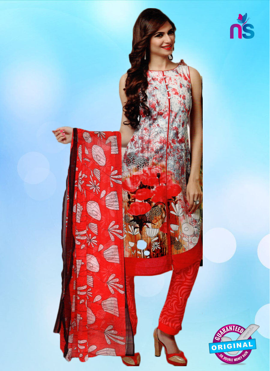 NS10660 A Ivory and Red Lawn Cotton Designer Suit
