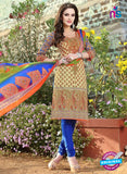 SC 12970 Beige and Blue Printed Pure Cotton Long Concept Daily Wear Salwar Suit