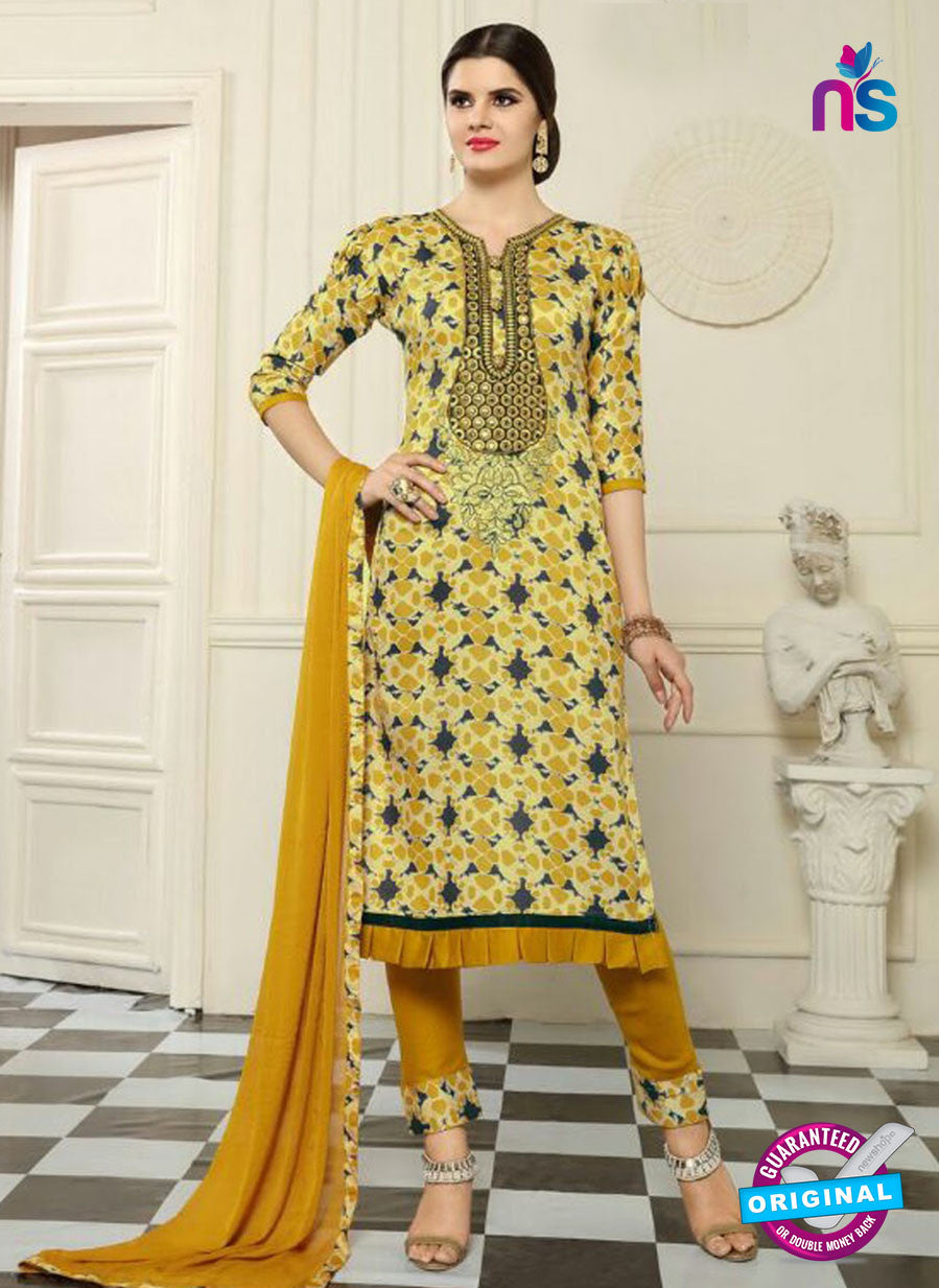SC 13548 Yellow Designer Fancy Traditional Semi-stitched Straight Suit