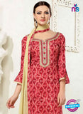 SC 12287 Red and Beige Elegant Embroidered with Printed Pure Cotton Un-stitched Suit Online