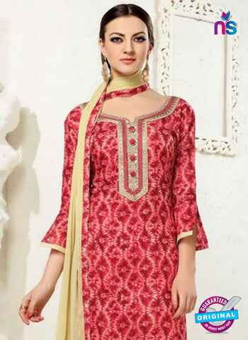 SC 12287 Red and Beige Elegant Embroidered with Printed Pure Cotton Un-stitched Suit
