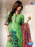 NS10661 A Parrot Green and Pink Lawn Cotton Designer Suit