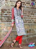 SC 12962 Blue and Red Printed Pure Cotton Salwar Suit Online