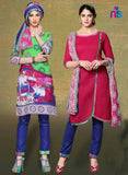 NS11530 Green and Pink Chudidar Suit Online