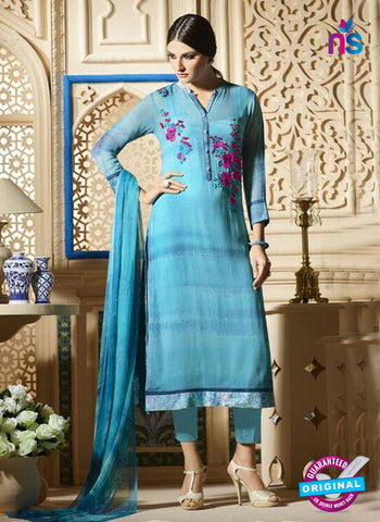 Sky Blue Embroidered Georgette Party Wear Suit