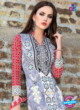 SC 12962 Blue and Red Printed Pure Cotton Salwar Suit