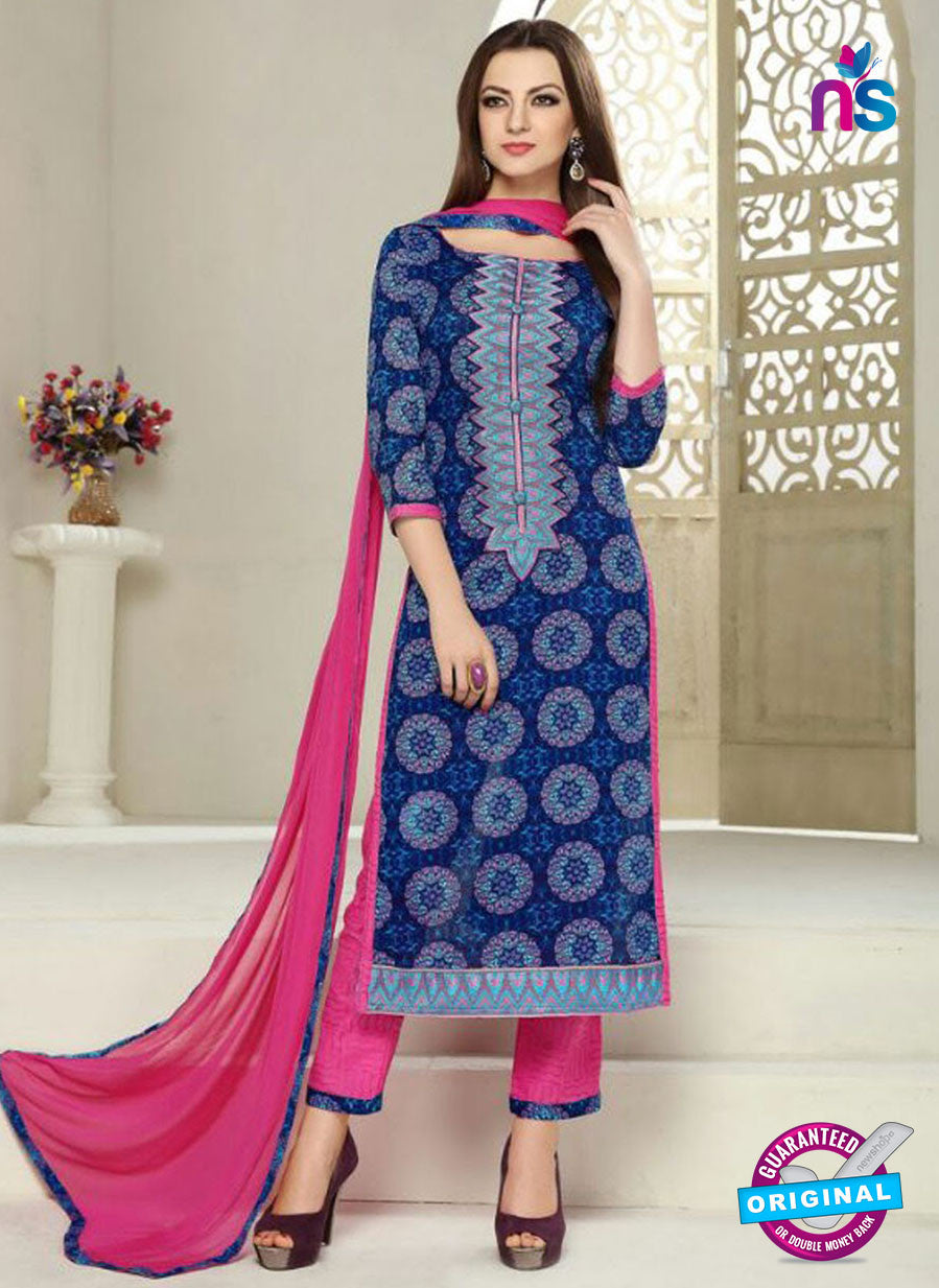 SC 12292 Blue and Pink Elegant Embroidered with Printed Pure Cotton Suit