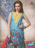 NS10662 B Yellow and Sky Blue Lawn Cotton Designer Suit