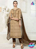 SC 12288 Beige and Brown Elegant Embroidered with Printed Pure Cotton Suit