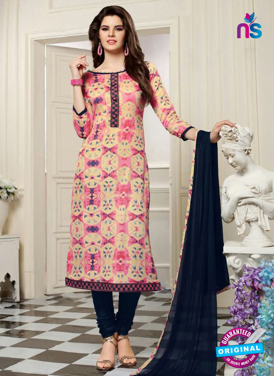 SC 13550 Beige and Black Designer Fancy Traditional Semi-stitched Straight Suit