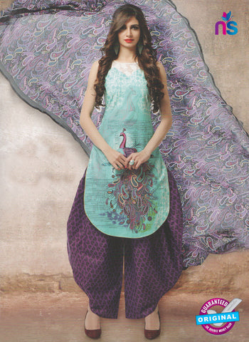 NS10663 A Blue and Purple Lawn Cotton Designer Suit