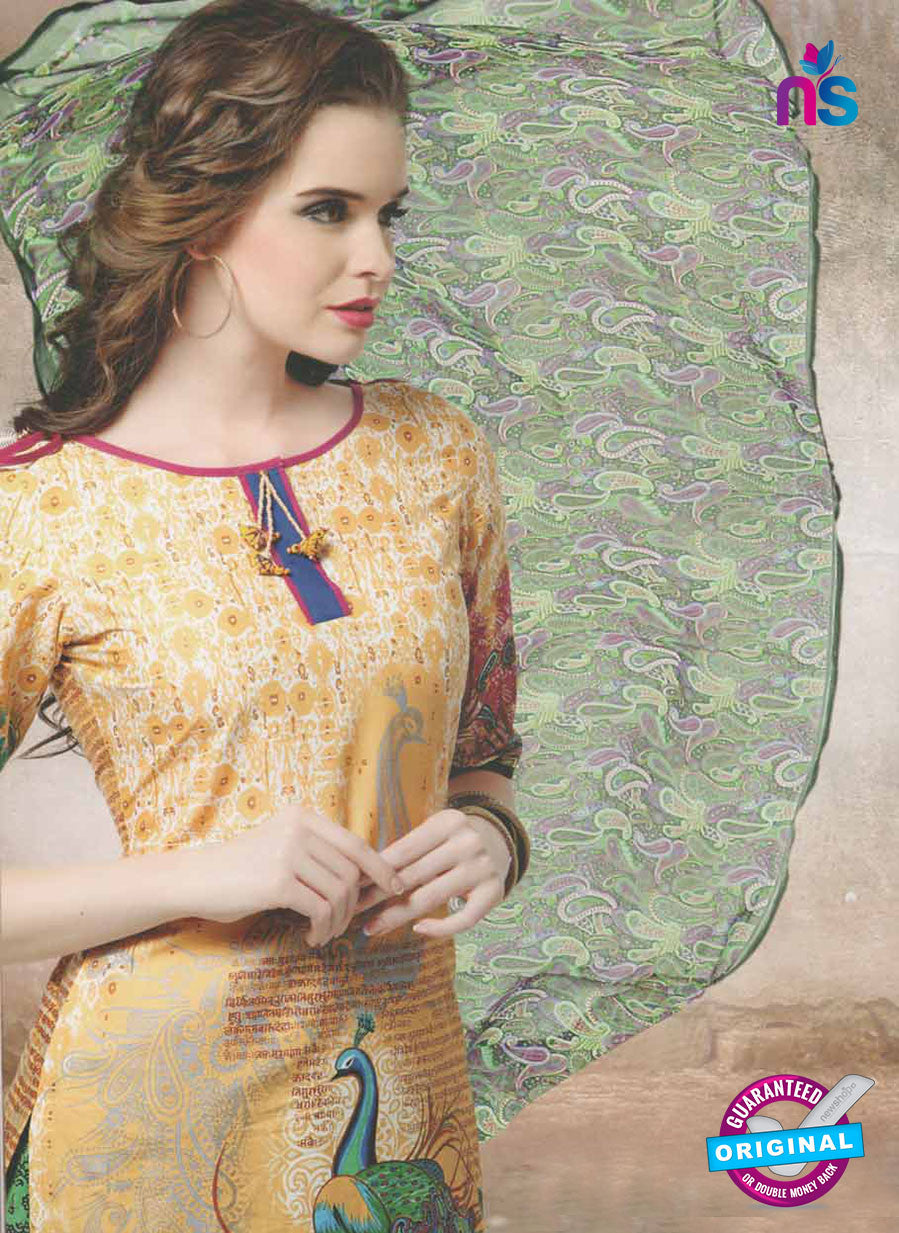 NS10664 B Yellow and Parrot Green Lawn Cotton Designer Suit