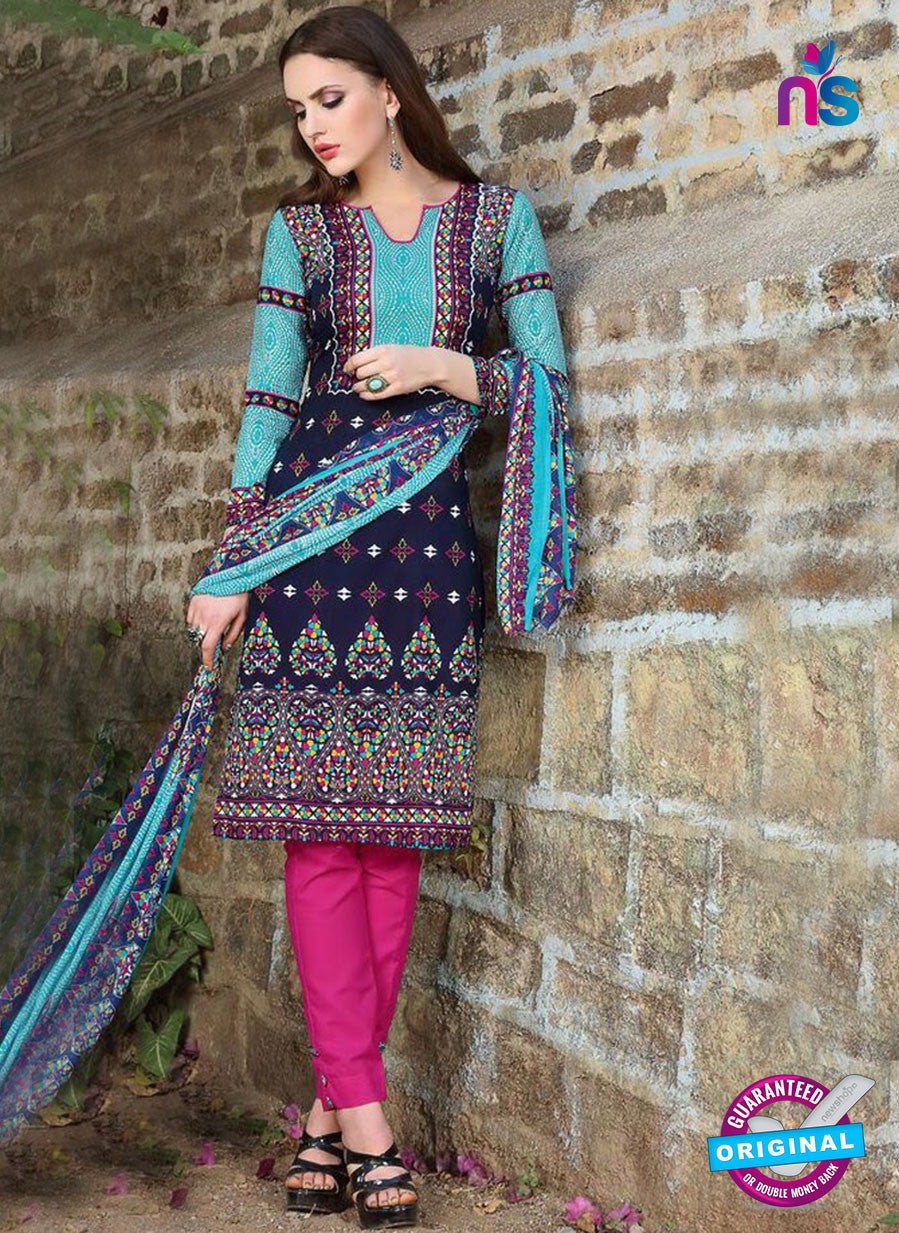 SC 12966 Blue and Pink Printed Pure Cotton Salwar Suit