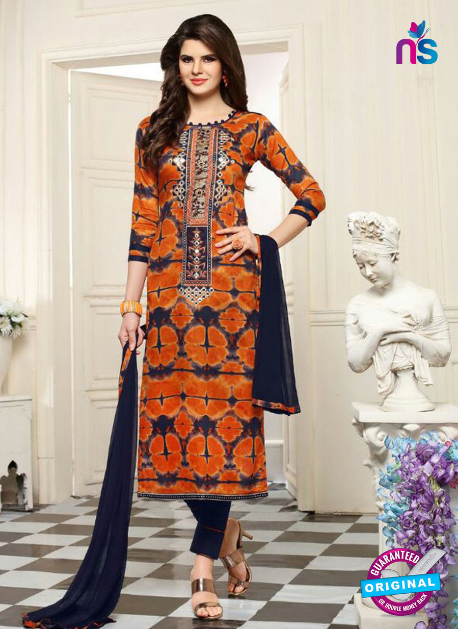 SC 13553 Orange and Black Designer Fancy Traditional Semi-stitched Straight Suit