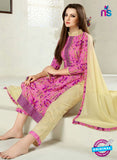 SC 12285 Pink and Beige Elegant Embroidered with Printed Pure Cotton Suit