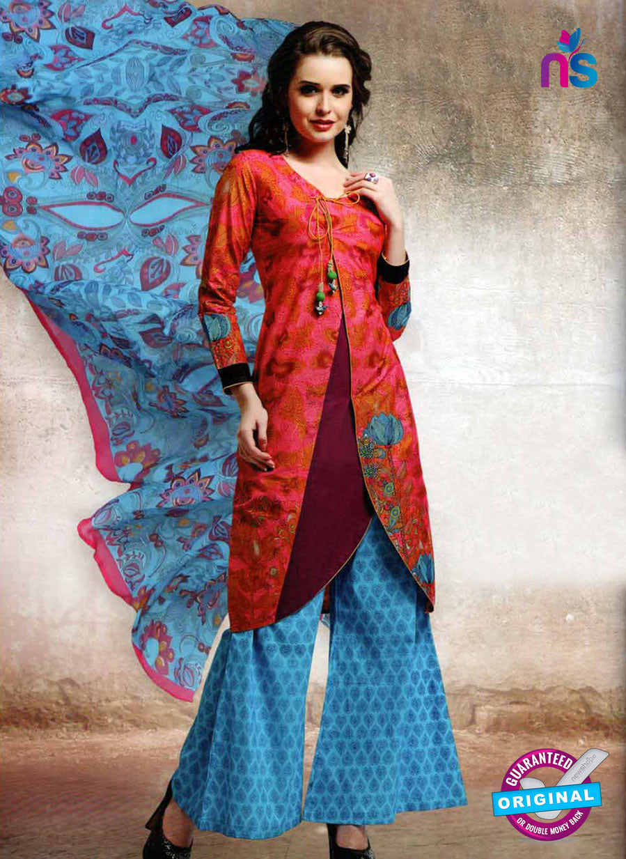 NS10665 A Red and Sky Blue Lawn Cotton Designer Suit
