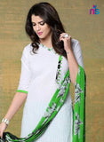 NS11532 Green and White Chudidar Suit Online