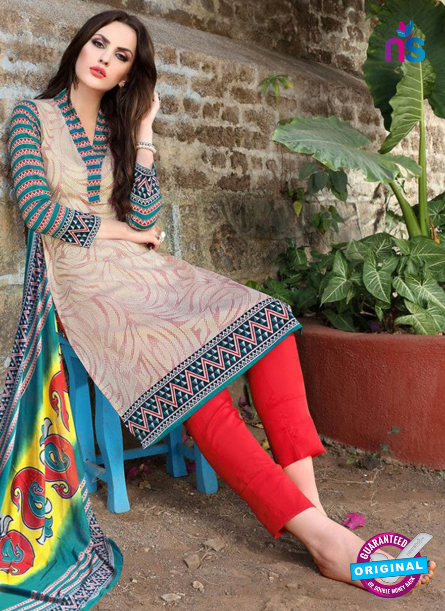 SC 12961 Beige, SeaGreen and Red Printed Pure Cotton Salwar Suit