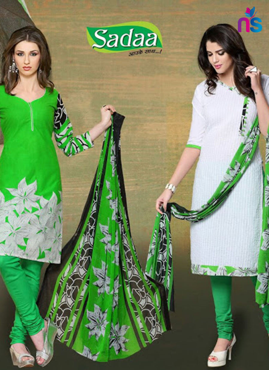 NS11532 Green and White Chudidar Suit