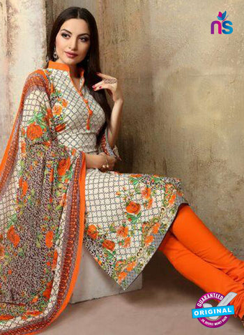 SC 13744 Beige and Orange Cotton Designer Fancy Exclusive Printed Long Straight Salwar Suit