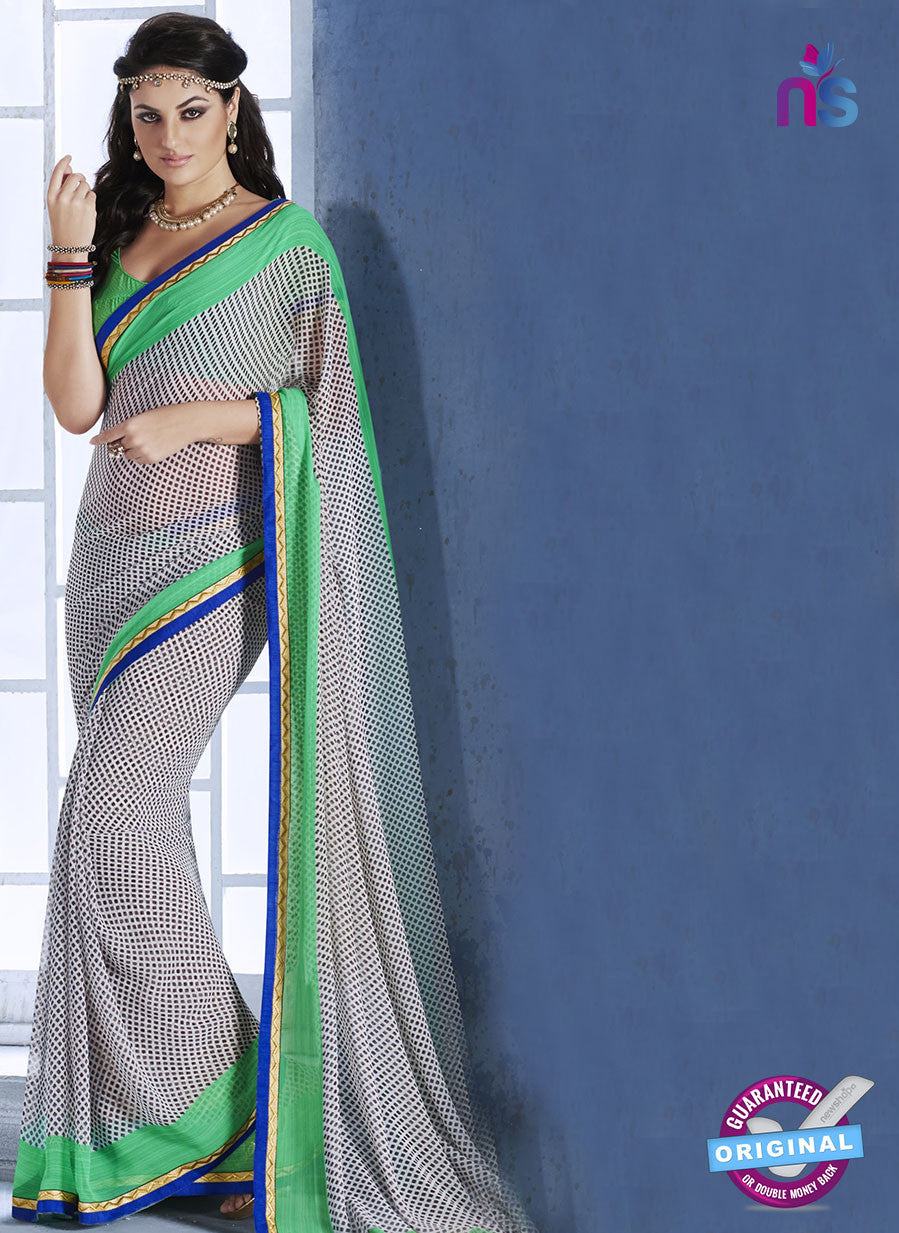 NS10542 Grey and Green Georgette Casual Saree