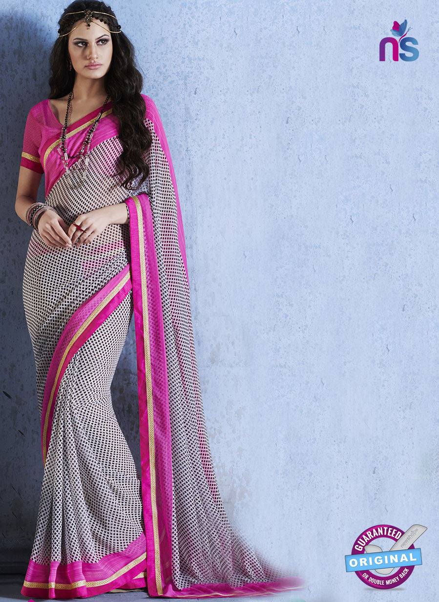 NS10541 Pink and Grey Georgette Casual Saree