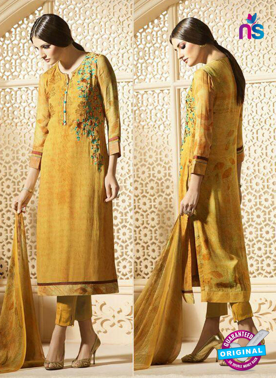 Sahiba 010 Yellow Embroidered Georgette Party Wear Suit