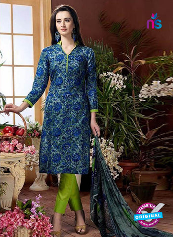 Rajavir 10 Blue Printed Cotton Suit