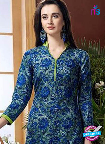 SC 42443 Blue Printed Cotton Suit