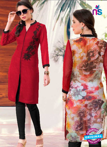 100Miles 11 Red Party Wear Kurti
