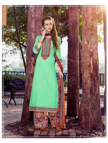 NS11751  Parrot Green and Multicolor Cotton Straight Suit
