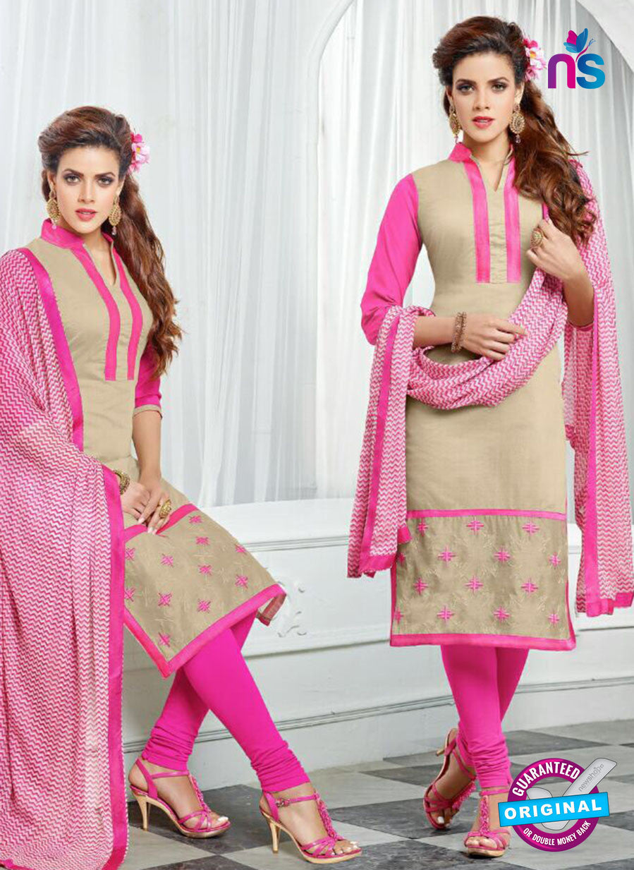 NS10264 Beige and Pink Casual Chanderi Straight Suit