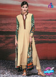 NS 12420 Beige and Green Cotton Satin Jacquard Party Wear Straight Suit