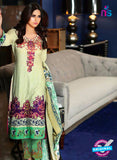 SC 13640 Green and Multicolor Embroidered Lawn Pakistani Suit
