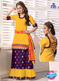 NS11101 Yellow and Purple Satin Jacquard Patiala Suit