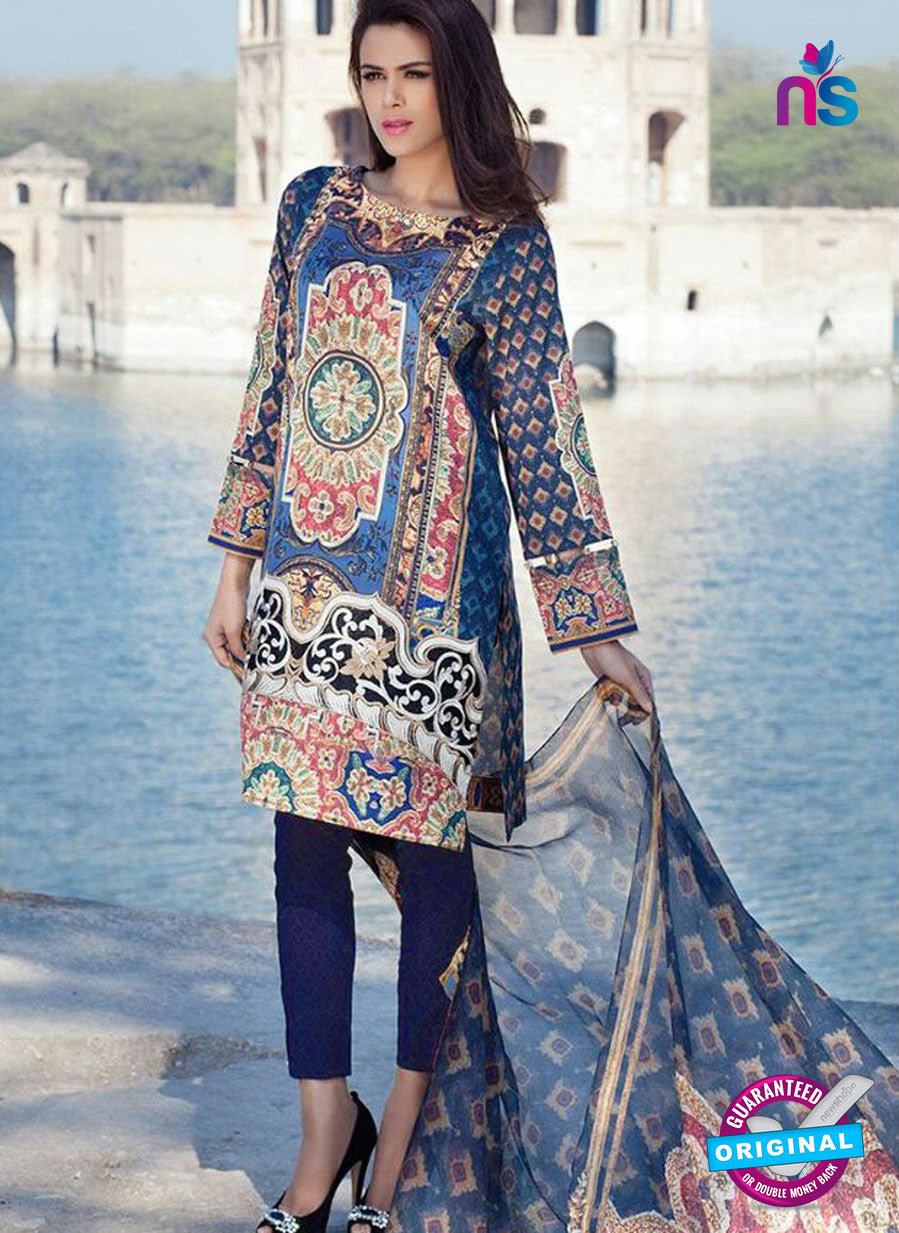 SC 12370 Blue and Multicolor Embroidered Patch Pure Lawn Cotton Suit