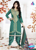 SC 13141 Green and Beige Cotton Patiyala Suit