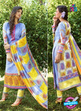 SC 12629 Blue and Yellow Heavy Embroidered Lawn Cotton Pakistani Suit