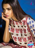 SC 13117 Beige, Red and Blue Satin Silk Party Wear Kurti