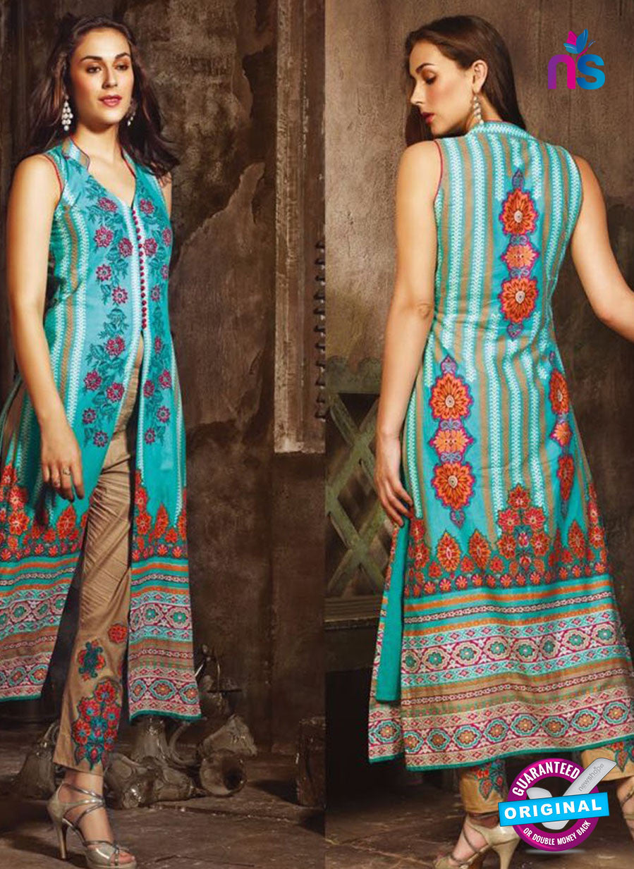 NS 12390 Blue and Brown Printed Pure Lawn Suit