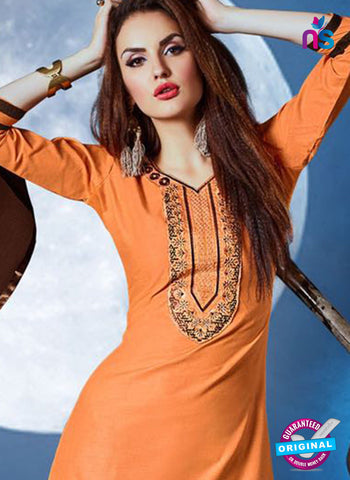 Meghali 01 Orange Cotton Patiala Suit