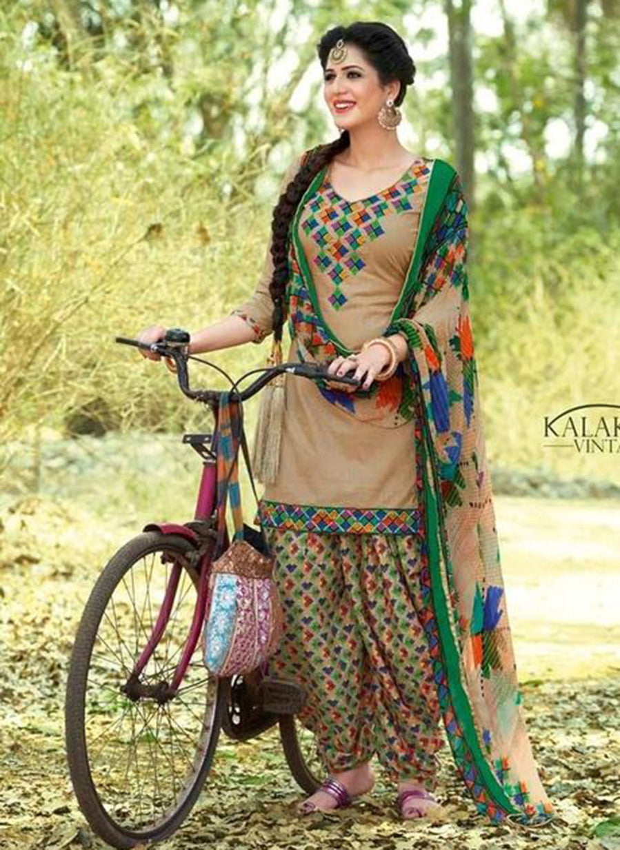 Kalakirti 01 Beige & Green Color Glace Cotton Designer Suit