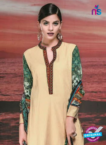NS 12420 Beige and Green Cotton Satin Jacquard Party Wear Straight Suit Online